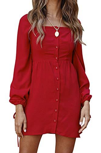 - FAFOFA Shirt Dress Women Long Sleeve Square Neck Button Down Puff Long Tunic Mini Dress Red M