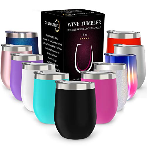CHILLOUT LIFE 12 oz Stainless Steel Tumbler with Lid & Gift Box | Wine Tumbler Double Wall Vacuum Insulated Travel Tumbler Cup for Coffee, Wine, Cocktails, Ice Cream, Powder Coated Tumbler (Glas Wine)