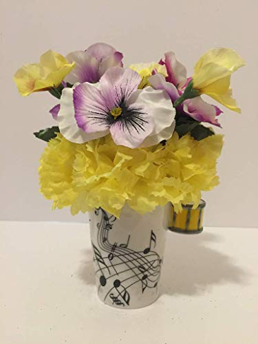 MUSIC FUN - YELLOW DRUM VASE - YELLOW CARNATIONS AND PURPLE, WHITE, YELLOW PANSIES - MUSICAL INSTRUMENT - MUSICIAN - BAND CLASS - SCHOOL BAND - MUSIC CLASS - ORCHESTRA -