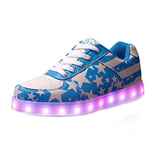 (Presente:pequeña toalla)JUNGLEST USB Carga de la Zapatilla Zapatillas de Deporte Con 7 Colores de Iluminación LED Intermitente Para los Amantes de N c13