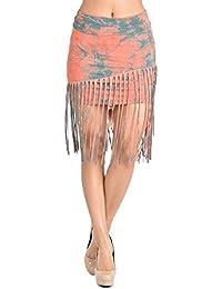 T-Party Coral & Turquoise Tie Dye Fold Waist Fringe Short Mini Skirt