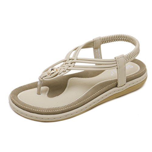 BELLOO Women's Summer Boho Thongs Sandals Peep-Toe Flip Flops Flat Shoes with Elastic T-Strap 1-beige cNurEJK