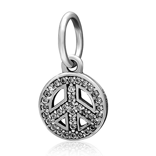 Peace Sign with Clear Cz Stone Charm 925 Sterling Silver Pendant for European Bracelets