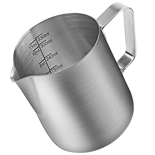 Milk Frothing Pitcher, Stainless Steel Creamer Frothing Pitcher, Perfect for Espresso Machines, Milk Frothers, Latte Art 12 oz (350 ml)