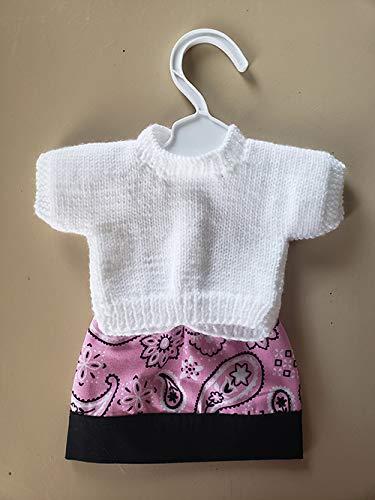Pink Bandbana skirt and matching white sweater 18 inch Doll Outfit