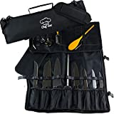 Chef Knife Roll Bag | 9 Slots for Knives Cleaver & Kitchen Utensils or Tools | 2 Large Zip Pockets | Sling Shoulder Strap | Best Gift for Executive Chefs & Culinary Students (black) | By Chef Sac