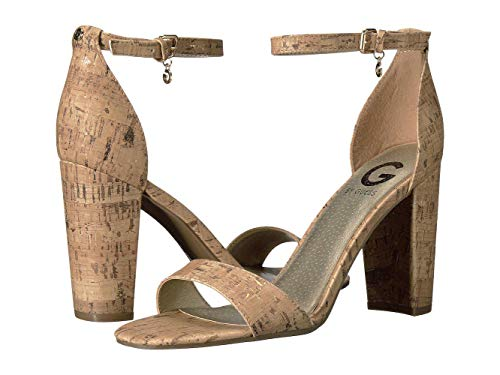 G by GUESS Womens Shantel3 Open Toe Special Occasion Ankle Strap, Tan, Size 9.0