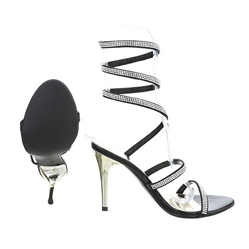 High Heel Sandaletten Damenschuhe High Heel Sandaletten Pfennig-/Stilettoabsatz High Heels Ital-Design Sandalen & Sandaletten Schwarz JW925