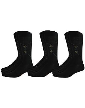 Men's Classics Dress Dobby Crew Socks, 15 Pair