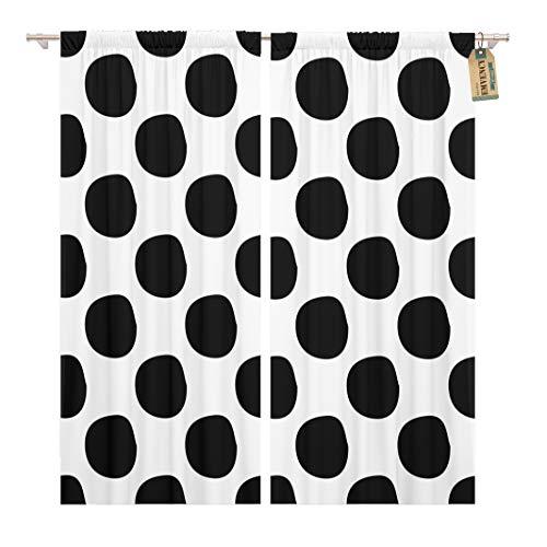 Golee Window Curtain Blot Abstract Polka Dot Pattern Cute Black and White Home Decor Rod Pocket Drapes 2 Panels Curtain 104 x 63 inches - Polka Dot Rod