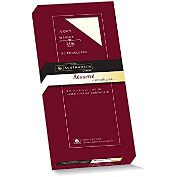 Delightful Southworth Exceptional Resume Envelopes, 100% Cotton, Size 10, Ivory, 50  Count (R14I 10L)