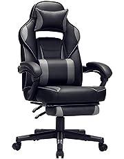 SONGMICS Gaming chair, bureaustoel met voetsteun, bureaustoel met hoofdsteun en lendenkussen, in hoogte verstelbaar, ergonomisch, 90-135° kantelhoek, tot 150 kg draagvermogen, zwart-grijs OBG073B03