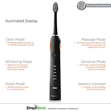 SimpliSonic Ultrasonic Rechargeable Electric Toothbrush Premium Package w 12 Heads Black