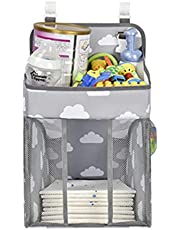 Nappy Caddy | Hanging Nappy Organiser | Baby Diaper Caddy Organizer | Nappy Stacker | Nursery Storage for Change Table, Cot, Bassinet | Suitable for Baby, Toddler, Boys, Girls | Newborn Gift | New Mum Gifts | Strong Hooks and Straps | Mesh Pockets (Light Grey)
