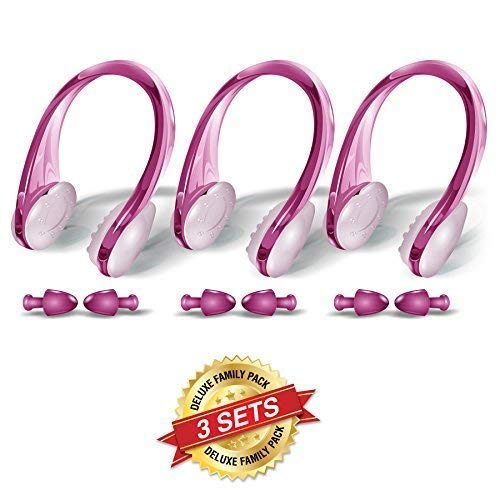 BLUPOND Swimming Nose Clips and Earplugs Mega Set of 3 Family Pack Pro Edition (Pink)