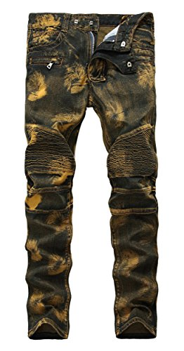 Men's Biker Moto Slim Fit Skinny Distressed Vintage Golden Runway Denim Jeans