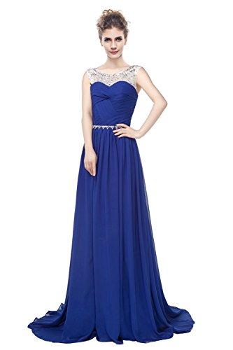 Kristall Ball Rückenfrei Frauen Träger engerla Kleid Blau Gerüscht Chiffon A Line Sheer Pailletten wUHERqWBO