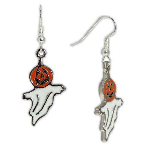 Best-Costume-Ghost-w-Jack-o-lantern-Pumpkin-Head-Earrings-in-Silver-Tone-Celebrate-Halloween-Autumn