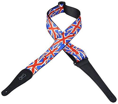 """Levy's MP-29 2"""" Polyester Guitar Strap with British Flag  De"""