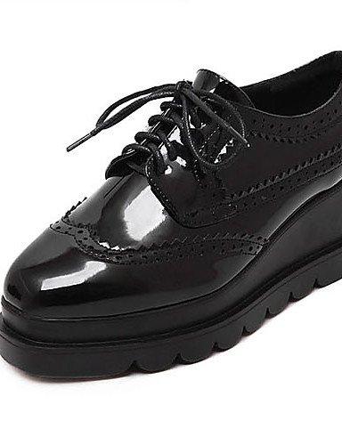 Oxfords us8 black uk6 black Plataforma us6 Patentado Cuero ZQ Cuña mujer Cuñas Zapatos hug eu39 cn39 eu36 eu39 cn36 Redonda cn39 Punta Tacón black uk4 uk6 Negro de Casual us8 gvxwvaqZ4
