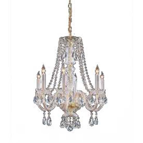 Crystorama 5086-PB-CL-SAQ Crystal Six Light Chandelier from Traditional Crystal collection in Brass-Polished/Castfinish,