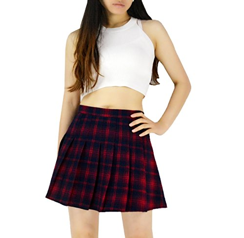 YSJERA Lady's Flared Check Plaid Pleated A-Line Short Mini Skater Skirts (S, Red) by YSJERA