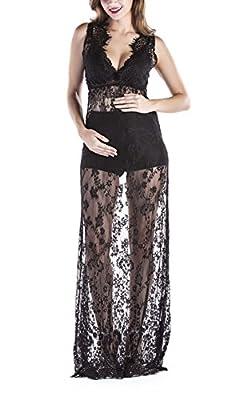 Yomoko Sexy Deep V-Neck Long Sleeve Lace Beach Dress See-through Maxi Dress