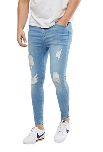 Men's Stretch Skinny Fit Ripped Jeans in Light-wash Blue With Distressing 29