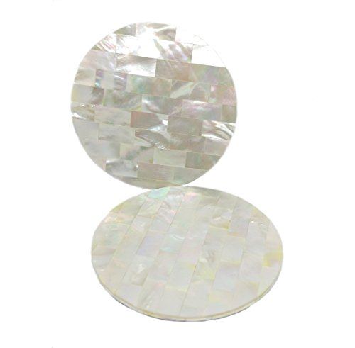 Set of 2 Mother of pearl Coaster (2, white (Coaster Pearl)