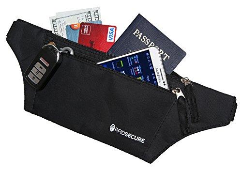 RFID Blocking Waist Wallet - Money Belt - Travel Belt - Passport Holder - Card Wallet
