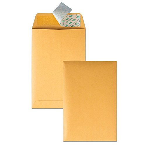 Quality Park Redi-Strip Envelope, Plain, 28 lbs, 6 x 9 Inches, 100 per Box, Kraft (QUA44162) (Quality Park Kraft Envelope)