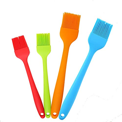 ZSVLDOR Silicone Basting Brush,Food Grade Pastry Brush, Kitchen Brush with High Temperature Resistance,Use for BBQ Grilling/Dessert Baking/Marinating, 8&10.2 Length (Pack of 4) (4)