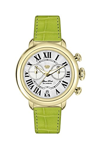 Glam Rock Women's GR77137 Bal Harbour Chronograph Gold Ion-Plated Mother Of Pearl Dial Leather Watch