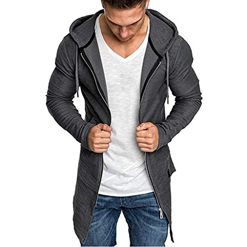 Kaniem Hooded Jacket,Mens Casual Zipper Long Sleeve Hoodie Jacket with Pockets Mid Length Hooded Coat (XXXL, Gray)
