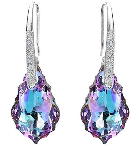 Sterling Silver Dangle Earrings Vitrial Light Purple Swarovski Crystal Simulated Diamond Drop Earrings (Diamond Dangle Flower)