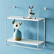 WELLAND Wesley 2-Tier Floating Shelf | Metal Frame Display Wall Shelf | Hanging Shelf w/Towel Bar for Kitchen,