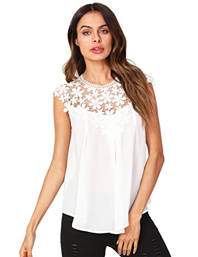 White Crocheted Lace - Floerns Women's Lace Neckline Sleeveless Chiffon Blouse Top White M