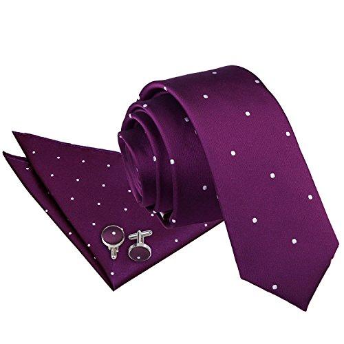 Hanky Neck Cufflinks Pin Purple Skinny DQT Men Dot Patterned Tie WnFpUWaq06