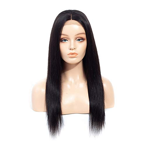(Minyu 4x4 Lace Front Human Hair Wigs Brazilian Straight Remy Hair Natural Color Pre Plucked Human Hair Wigs For Black Women,Natural Color,16inches)