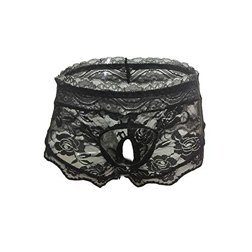 (wear2me Pouch Panties Black Mens Lace Thong Hipster Brief Hot Sexy Underwear XXL)