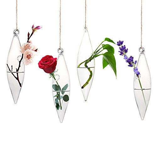accmor 4 Pack Hanging Terrarium, Teardrop Shape Glass Hanging Vase for Plant Flower Fish(Hanging String (Drop Vase)