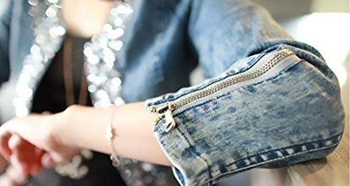 Jeansjacke Damen Elegant Langarm Slim Fit Vintage Glitzer Strass Fashion  Unique Casual Herbst Kurz Jacken Denim Jacket Classic Outwear Kurzjacke   Amazon.de  ... 4c61ef78aa
