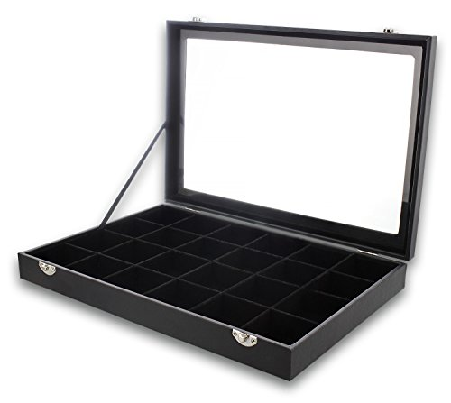 Black Velvet Jewelry Display - Storage Tray Organizer for rings, Cuff Links, Stud Earrings - 14'' by Juvale