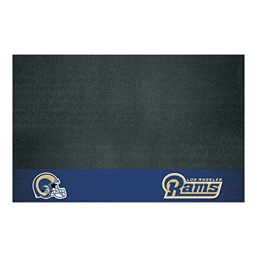 AM 42 X 26 Inch Rams Grill Mat, Football Themed Outdoor Deck Patio Non Curling Area Rug Carpet Sports Patterned, Team Color Logo Fan Merchandise Athletic Spirit Blue Gold White, Vinyl by AM
