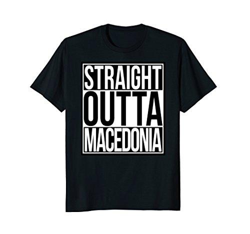 Mens Straight Outta Macedonia T-Shirt Medium Black