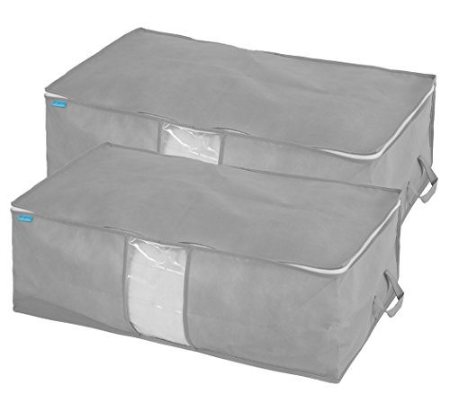 MOHO & HOME Jumbo Underbed Storage Bags Organizer with Zippers and Handles for Clothing, Blankets, Comforters, Quilts, Holiday Ornaments, Set of 2