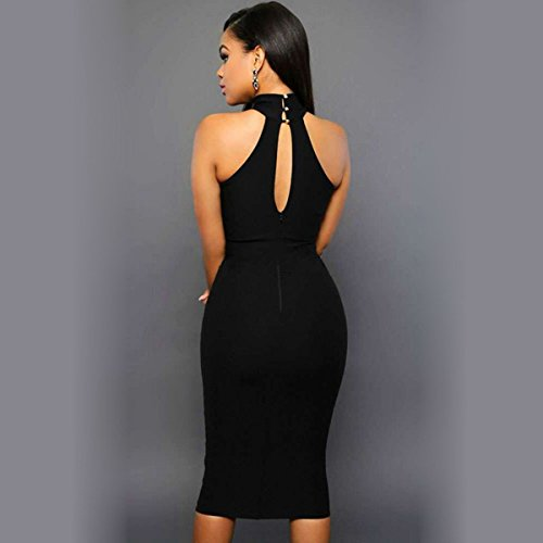 Halter Dress Pencil Package Hip Backless Clubwear Sleeveless Women Black Bodycon dqFBSd
