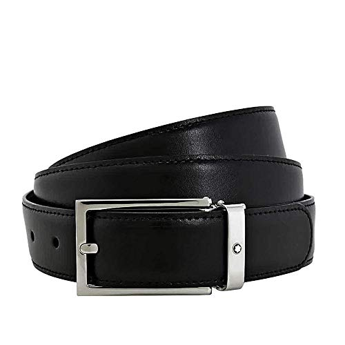 Montblanc 113273 Men's Leather Belt with Square Slim Shiny Palladium-Coated Pin Buckle