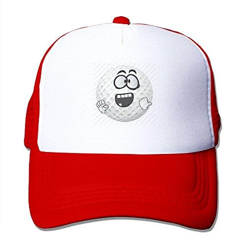 Adult's Golf Ball Smiley Emoji Cartoon Face Youth Mesh Baseball Cap Summer Adjustable Trucker Hat