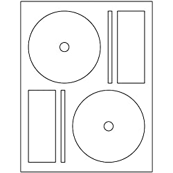 200 CD / DVD Labels BESTeck Brand fits Memorex Full Face Compatible. Small Center Style. 200 Total Labels with Spine and Case Labels. Laser and Ink Jet Compatible